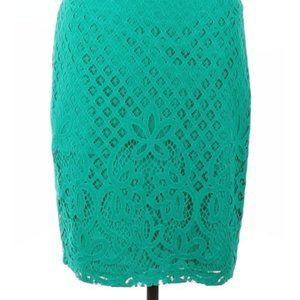 LOFT green lace skirt 12 NWT